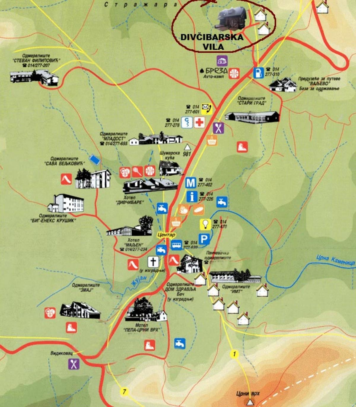 divcibare mapa srbije Divčibare » Skijanje.rs divcibare mapa srbije